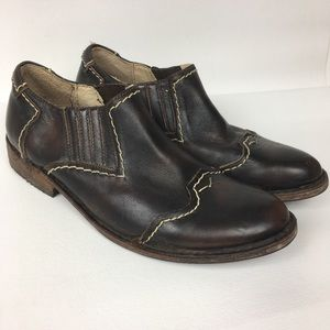 BED STU Sz 8 Brown Leather Slip On Loafer Booties